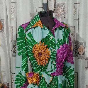 S/M Vintage 60/70s printed dress